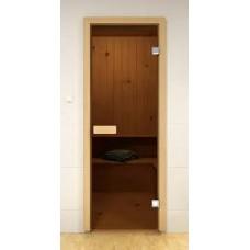 Дверь стекло бронза (коробка лиственная) 169*69