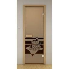 """Стеклянная дверь """"Банный вечер"""""""