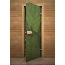 """Дверь стеклянная """"Листок"""" (зак. стекло 8мм;лист.кор.)"""