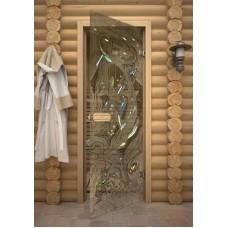 """Дверь стеклянная """"Парилка""""(зак. стекло 8мм;лист.кор.)"""