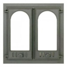 400 SVT каминная дверца со стеклом(двустворчатая)