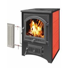 Печь-Камин ВЕЗУВИЙ ПК-01 (205) с плитой и теплообменником, красный